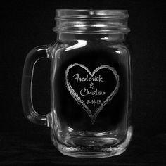 Wedding Mason Jar Favors, Glass Mugs with Heart, Country Wedding Decor