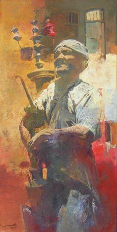Iraqi artist, Falah Al Saedi The Licorice Root Seller Oil on canvas //