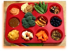 12 Healthy Snack Ideas. Love the idea of putting them in a muffin tin as the platter for kids to eat out of. #health #food