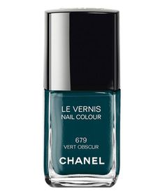 Try out this deep forest hue for an effect similar to black polish—both crisp and striking. This one ups the ante with flecks of green and blue that are only visible in certain lighting.