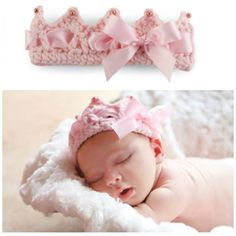 This hand knit crochet crown headband features laced ribbon detail. Perfect for those first baby snapshots! Newborn sized.