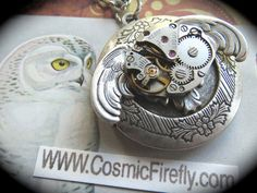 Steampunk Locket Necklace Antiqued Silver Owl Locket Gothic Victorian Vintage Watch Movement Popular Steampunk Style Fashion Jewelry by CosmicFirefly (55.00 USD) http://ift.tt/19fuDDP