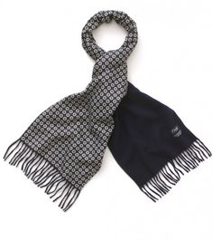 Cashmere Ripple Finish Scarf Reversing to Real Ancient Madder Silk - Scarves - Drakes London