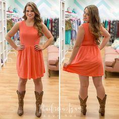 Coral Texture Dress - BlueGreenAqua boutique #bluegreenaqua