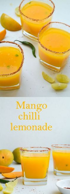 Mango chilli lemonade is the perfect summer drink with just the right amount of heat #mangolemonade #lemonade #mango #cooler #beverage #mangocooler #drink #summer