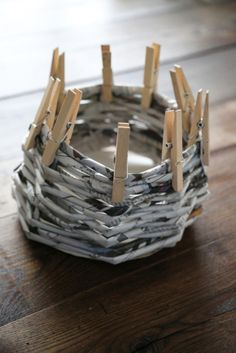 Learn how to make an easy DIY basket made out of recycled newspaper.  Its a fun project for the kids too!