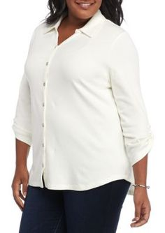 Kim Rogers Atlas Ivory Plus Size Pullover Rolled Sleeve Button Front Solid Top