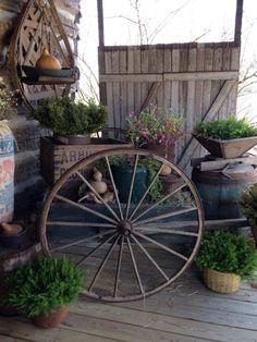Love the wagon wheel * Schoolhouse Country Gardens *