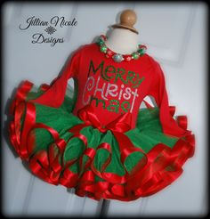 Merry CHRISTmas 2 piece Tutu Set. Includes by JillianNicoleDesigns