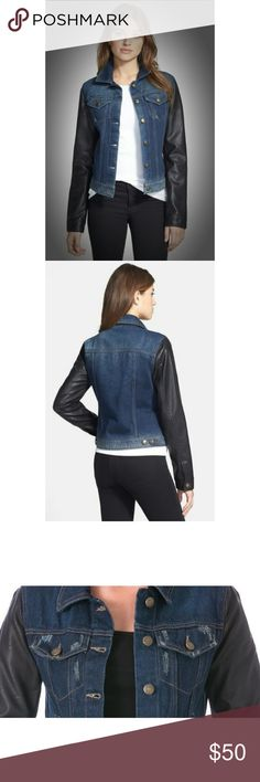 Laundry by SS Vegan Leather Jean Jacket NWT $180XS All you need to amp up your urban attitude is a classic denim jacket finished with vegan-leather sleeves. Front button closure. Front pockets; chest button-flap pockets. Side button tabs. Lined. 100% cotton with 100% polyurethane vegan leather. MACHINE WASH. Tumble dry low. NWT $180 XS  BUNDLE DISCOUNT:  GET 20% OFF 3 ITEMS Laundry by Shelli Segal Jeans