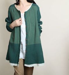 Cotton single breasted long tunic shirt/ Green shirt/ by MaLieb, $73.00