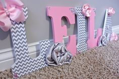 Couture pink and grey wall letters Wooden by MiaMonroeBoutique