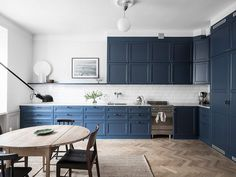 Cozy home with a blue kitchen