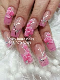 ideas nails acrilico grises for 2019 3d Nail Designs, Pretty Nail Designs, Acrylic Nail Designs, Pink Nail Art, Flower Nail Art, Cute Acrylic Nails, Stylish Nails, Trendy Nails, Fancy Nails