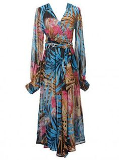 Casual Hot Floral Chiffon Deep V Neck Long Sleeve Maxi Party Dress