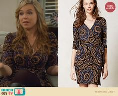 Kristin's blue and gold printed wrap dress on Last Man Standing. Outfit Details: http://wornontv.net/25720 #LastManStanding #fashion
