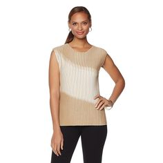 Samantha Brown Ribbed Knit Contrast Sweater Top - Champagne/White