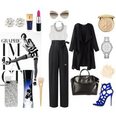 graphic impact by andreea-mateiu on Polyvore featuring Amanda Wakeley, Givenchy, FOSSIL, DKNY, Christian Dior, Yves Saint Laurent, Laura Mercier and Giorgio Armani