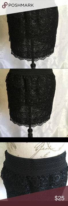 "NWT Color Swatch Black Lace Skirt Cute, cute, cute skirt. Tiers of black lace with elastic waist. Measures 15"" long, 20 1/2"" wide at the widest point in the hips, elastic waist at rest measures 18"".  All measurements are with the skirt laying flat. Color Swatch Skirts Mini"