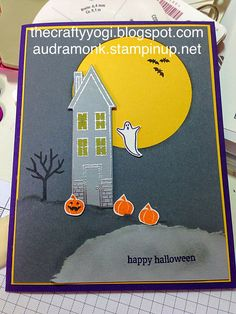 the crafty yogi: Scary Fun, Remarkables Blog Hop holiday home, stampin' up! Halloween card