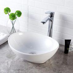 Shop Above Counter White Porcelain Ceramic Bathroom Vessel Sink - Overstock - 31126668