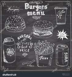 Burger Menu Hand Drawn Sketch. Fastfood Poster With Hamburger ...