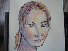 Retrato con lápices de colores de #Jennifer #Lawrence