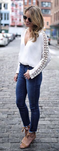 #spring #fashion  White Lace Top & Navy Skinny Jeans