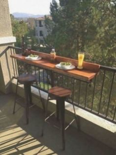 Plans for a get-together try this diy balcony bar top by hometalk for your next event! Apartment Balcony Decorating, Apartment Balconies, Cozy Apartment, Colorful Apartment, Apartments Decorating, Outdoor Balcony, Balcony Railing, Outdoor Decor, Balcony Ideas