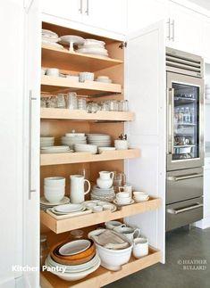 New Kitchen Pantry Storage Ideas Refrigerators 38 Ideas Kitchen Pantry Design, Kitchen Cabinet Organization, Kitchen Drawers, Diy Kitchen, Kitchen Storage, Kitchen Decor, Cabinet Ideas, Kitchen Designs, Pantry Storage