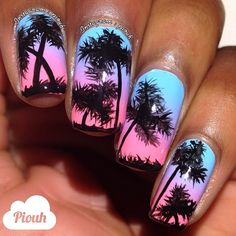quenalbertini: Tropical nails by Piouh Get Nails, Love Nails, Pretty Nails, Hair And Nails, Colorful Nail Designs, Cute Nail Designs, Palm Tree Nails, I Need Vitamin Sea, Beach Nails
