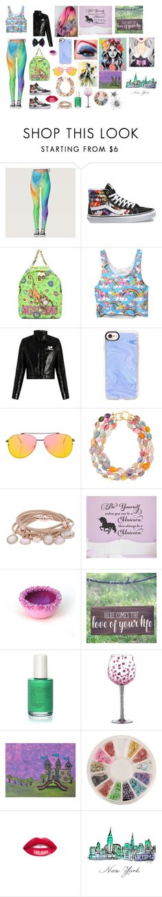 """🌈"" by ali-0 ❤ liked on Polyvore featuring Disney, Vans, Moschino, Courrèges, Casetify, Topshop, Kenneth Jay Lane, Marjana von Berlepsch and Piggy Paint"