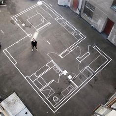 A clever team of architects in Oslo, Norway, mocks up full-size blueprints using a shared flat concrete courtyard behind their office, allowing colleagues and clients alike to test-drive designs in…