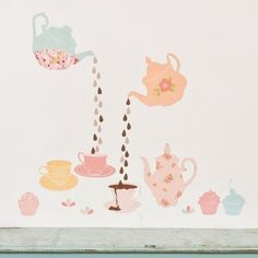 ON SALE Wall Stickers Tea Party (Reusable and removable fabric wall decals, not vinyl) - Teatime