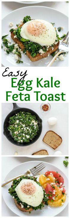 Easy Egg Kale Feta Toast #protein #fastfood #energy