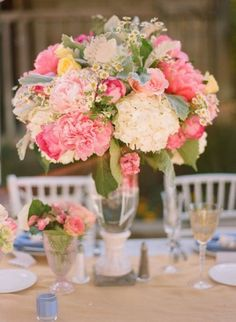 Summer Wedding Centerpiece with Hydrangeas  I LOVE the look of this bouquet...so feminine, kind of 'old-fashioned' (in a good way), just perfect?