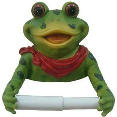 Frog Bathroom Toilet Paper Holder Red Bow