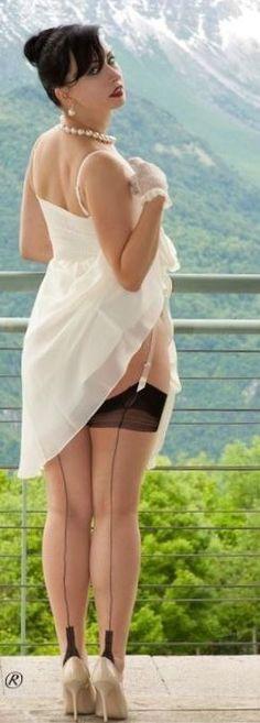 are my seams straight? Lady Stockings, Vintage Stockings, Stocking Tops, Suspenders, Hosiery, Curvy, White Dress, Beautiful Women, Classy