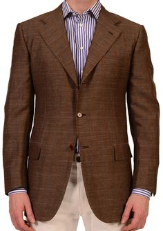KITON Napoli Brown Windowpane Wool Linen Jacket Sport Coat US 38 40 NEW EU 50 R6