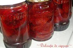 Dulceață de căpșuni cu lămâie Preserves, Pickles, Jelly, Salsa, Mason Jars, Good Food, Food And Drink, Cooking Recipes, Homemade