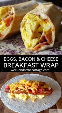 Recipes Breakfast Wraps When you are in a pinch and need a quick meal. Bacon, scrambled eggs and cheese grilled in a tortilla shell, this wrap is perfect at home, at the cottage or on the run! Serve it for breakfast, lunch or dinner! Breakfast Dishes, Best Breakfast, Breakfast Recipes, Breakfast Tortilla, Healthy Breakfast Wraps, Freezer Breakfast Burritos, Bacon Breakfast, Breakfast Sandwiches, Breakfast At Work Ideas