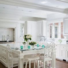 Island as Dining Table, Transitional, Kitchen Love the island!