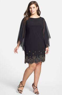 Xscape Embellished Hem Chiffon Dress (Plus Size) available at #Nordstrom