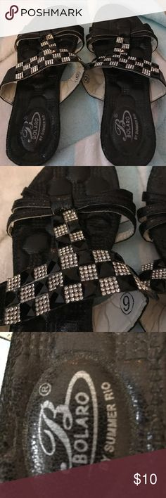 Bolaro by Summer rio black and crystal sandals 6 Excellent condition. #400 bolaro Shoes Sandals