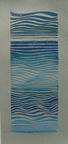 Waves : Striped Pebble, linocuts, drawings, paintings and other lovely things
