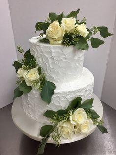 Rustic White Rose & Eucalyptus Wedding Cake