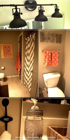 Love the beige and light orange together and also the mix of polk a dots and chevron..