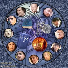 This is the Doctor Who clock face I designed a few years ago, but finally got to complete last August, when Capaldi's name was announced as the Doctor's 12th incarnation... I'm going to print it out in photo quality, get a clock mechanism from a craft store, decoupage the picture to a piece of sanded wood, then install the clock mechanism.