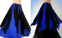 Ameynra Belly Dance Maxi SKIRT Bicolor  Blue by AmeynraDesigns