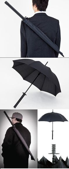 ✖✖✖ The Samurai Sword Umbrella comes complete with Samurai sword handle (der), easy push-button opening, and of course, a nylon scabbard with adjustable shoulder strap so you can walk down the street like a boss even when it's not raining. ✖✖✖